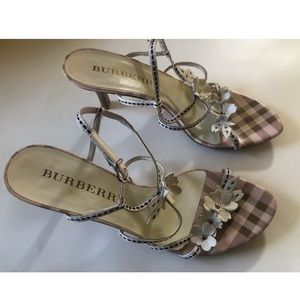 BURBERRY Leather Ankle Strap Sandals 5.5
